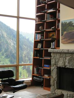 bookshelf with ladder rungs affixed to each shelf & what a view