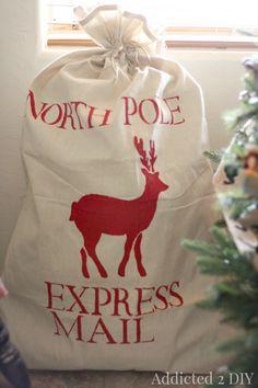 DIY festive holiday Santa Sack with Royal Design Studio reindeer christmas craft stencils - via addicted 2 diy