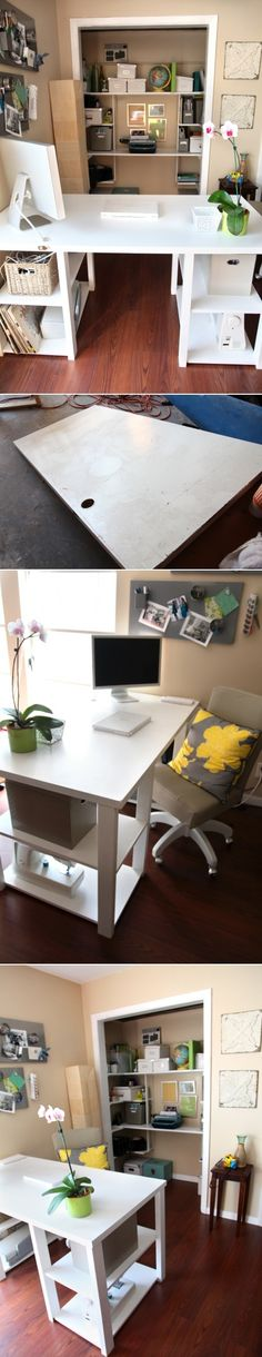 Love the idea to remove the closet doors to open the room up ( post is really for DIY Home Office Desk From An Old Door)