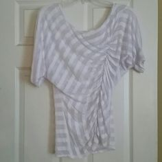 Sale!!! White Daytrip  top White, mixed media, excellent condition, asymmetrical stitching down the front. fits junior medium perfectly Daytrip Tops
