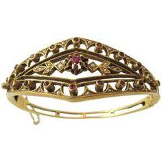 Seed Pearl Ruby Gold Hinged Bangle Bracelet