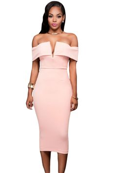 Pink Off-The-Shoulder Midi Dress LAVELIQ