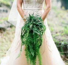No flowers, just ferns. Bouquet.
