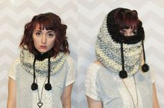 PDF crochet pattern Giant cozy drawstring cowl hood by HELLOhappy
