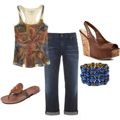 navy n brown casual, created by cara-vanacore on Polyvore