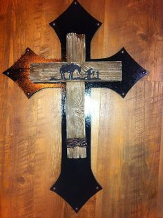 DECORATED WOODEN CROSS by grammieself on Etsy, $40.00