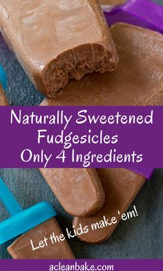 These dairy free and naturally sweetened fudgesicles only require 4 ingredients and put the store bought ones to shame! Give them a try today. Desserts Sains, Köstliche Desserts, Frozen Desserts, Frozen Treats, Dessert Recipes, Yummy Treats, Sweet Treats, Yummy Food, Paleo Treats