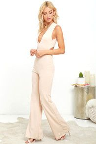 Your admirers will have a lot to say about their love for you in the Thinking Out Loud Beige Backless Jumpsuit! Medium-weight knit is formed to a sleeveless bodice, with V-neck, darting, and wide straps that cross over the open back. Bit of elastic at the waist tops the wide-leg pants. Hidden back zipper.