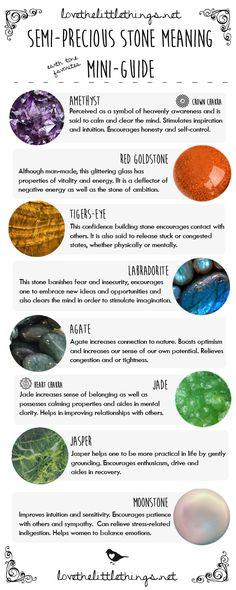 Semi-Precious Stone Meaning Mini-Guide - Earth Tone Favorites. Amethyst, Labradorite, Red GoldStone, Jasper, Moonstone, Jade, TigersEye  ❦ CRYSTALS ❦ semi precious stones ❦