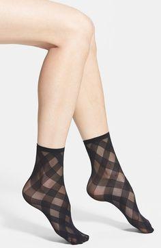 Hue 'Diagonal Ribbon' Sheer Ankle Socks available at #Nordstrom