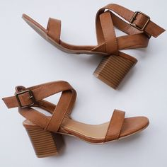 Tan Strappy Ankle Block Heel