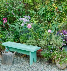 Garden Designs Ideas 2018 : A 'Sterling Silver' hybrid tea rose, a magenta-flowering butterfly bush, and lavenders surround a painted bench that John built to replicate a vintage one Lidy sold through her antiques business. Patio Edging, Pea Gravel Patio, Outdoor Garden Bench, Garden Seating, Butterfly Garden Plants, Roses Garden, Rose Garden Design, Vintage Garden Decor, Hybrid Tea Roses