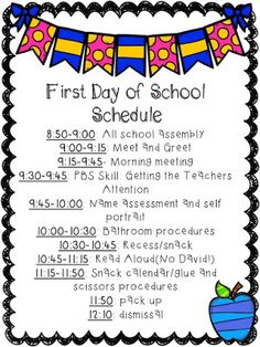Great First Day of Kindergarten schedule!