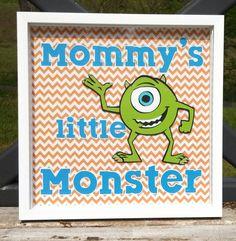 Monsters Inc  Mike Wazowski Mommy's Little Monster Orange Chevron 12x12 Shadow Box via Etsy