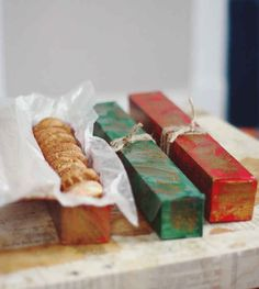Old Saran wrap or aluminum foil containers make great boxes for gifting cookies.
