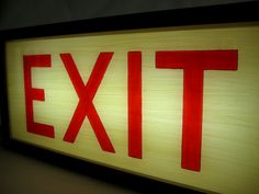 Hand-Painted Lighted Vintage EXIT Sign Wooden Lightbox by Bingkai