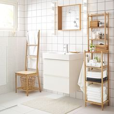 """It's not often that you look at bathroom storage and think """"environmentally friendly,"""" but it can be. We take pride in being able to resource sustainable materials such as bamboo to create a variety of bathroom furniture like our RÅGRUND collection. Now, you can stay organized and stay green. Click the link in our bio to shop this image. #IKEA #bathroom"""