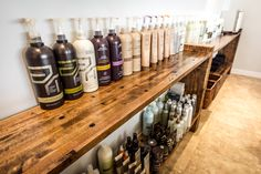 Reclaimed Cargo flooring used to make great rustic shampoo shelves