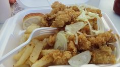 Anne's Bahamian Crack Conch - served with fries and roll - finger-licking good!!