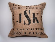 Custom Monogramed Burlap Pillow  Initials with by HowardInteriors