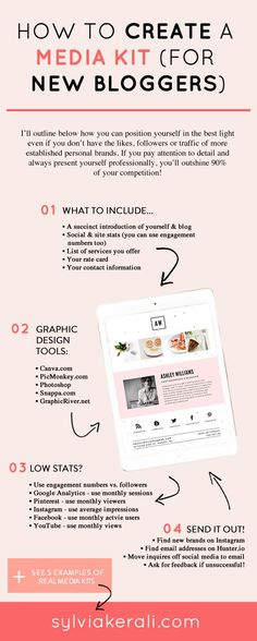 A professional looking media kit is important for positioning your new blog to potential collaborators. Learn how to create a professional media kit using Canva even if you don't have a lot of stats. | How to Create a Media Kit for New Bloggers & Influencers | blogging tips, media kit, blogging for beginners | #mediakit #blogger #bloggingtips | Find more resources and inspiration for bloggers and influencers on sylviakerali.com