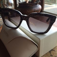 Valentino GrayPearl Lace Square Cateye Sunnies Gorgeous brand new in box Valentino Cateye sunglasses. 54-21-135. Comes complete in box, with soft leather case, cleaning cloth and certificate of authenticity. Gradient gray lens, non polarized. Absolutely stunning. Made in Italy. No trades. Valentino Accessories Glasses