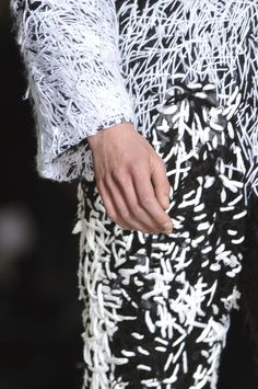 Heavily embroidered fabrics with graphic patterns & texture; fashion design detail; textiles for fashion // Anita Hirlekar Fall 2014