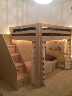 Queen loft bed with twin underneath Girls Bedroom With Loft Bed, Loft Beds For Small Rooms, Small Room Design Bedroom, Girl Bedroom Designs, Home Room Design, Room Ideas Bedroom, Girl Loft Beds, House Design, Build A Loft Bed
