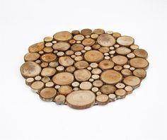 Rustic Circular Wood Tree Slice Centerpiece Decorative Wall