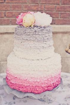 Ombre frill wedding cake #ombrewedding
