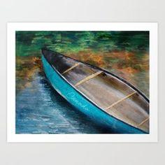 Canadian Canoe Art Print by craftberrybush Canadian Canoe, Happy Canada Day, Beach Art, Printable Art, Free Printables, Surfboard, Coastal, Art Prints, Water