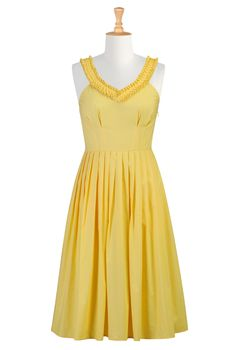 sunny yellow, cotton dress, pleated skirt, sleeves can be added to this dress, neckline changed, and skirt length modified