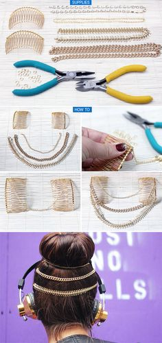 Take your topknot to the next level with slide in chain combs. | 31 Impossibly Pretty DIY Hair Accessories