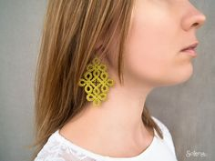 Pistachio tatting style bright earrings  Summer • Green colorful textile earring • hippie Chic fabric jewellery • geometric statement • by SoLenaRU on Etsy Tatting Earrings, Lace Earrings, Lace Jewelry, Fabric Jewelry, Statement Earrings, Jewellery, Bridesmaid Earrings, Wedding Earrings, Wedding Jewelry