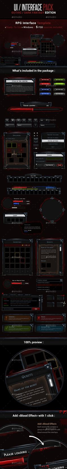 Game UI Interface Pack - Gothic / Dark Fantasy Edition - User Interfaces Game Assets Design Template PSD. Download here: https://graphicriver.net/item/game-ui-interface-pack-gothic-dark-fantasy-edition/17017397?s_rank=158&ref=yinkira