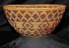 Yokuts Indian Basket. I have a similar one- smaller and oval, with two black marks from heated stones for cooking at bottom.