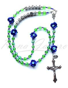Blue & Green Rose Flower Rosary - Can be Personalized!