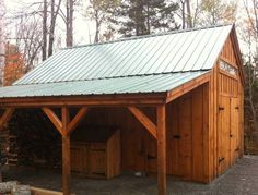 Another angle of our × One Bay Garage with optional × overhang and 8 foot double barn doors.