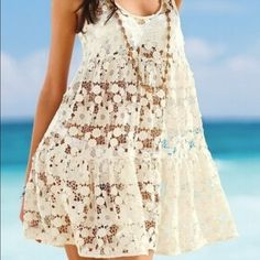 Adorable lace chiffon beach bikini cover up. M This is a size large flower lace  bathing suit cover-up. New in package Swim Coverups