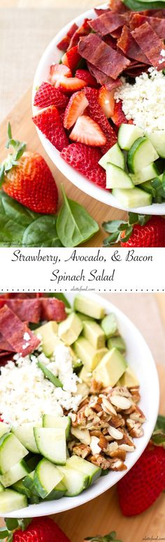 This easy salad is packed with the works: strawberries, avocado, turkey bacon, feta cheese, pecans, almonds and cucumbers over a bed of spinach. Top with your favorite dressing for the ultimate healthy meal.