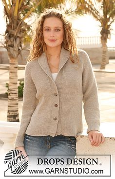"FREE Ravelry: 112-40 Knitted Jacket with rib in ""Merino Extra Fine"" pattern by DROPS design"