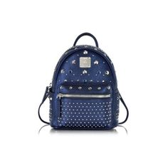 MCM Handbags Stark Special Metallic Navy Leather X-Mini Backpack (1,549 CAD) ❤ liked on Polyvore