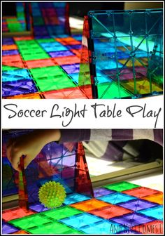 Soccer (or football) light table play for kids from And Next Comes L