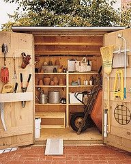 storage shed organization - love this so much in so little space.