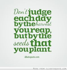 Don't judge each day by the harvest you reap, but by the seeds that you plant.