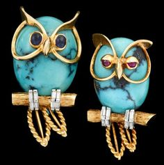 18 karat yellow gold turquoise and diamond 'owl' cufflinks, Cartier   1950s   Oval turquoise with whimsical yellow gold and gem accent.
