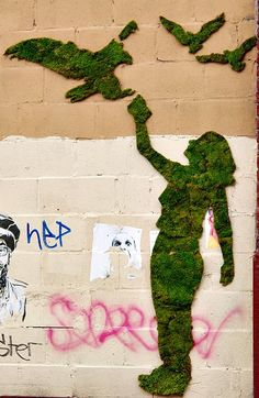 Moss Graffiti - we love this technique & are planning on doing the rear of the wood shed with something whimsical in moss