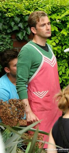 Yes, even in a pink apron! ~ He's unbelievable!!!  <3  :p...  ;)  Original pinner, ' NEW PHOTOS: David Tennant In The Politicians Husband'