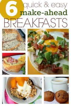 6 Quick & Easy Make Ahead Breakfasts -- Start your morning with a nutritious & hearty breakfast that comes together in a snap! Make Ahead Breakfast, Homemade Breakfast, Brunch Recipes, Breakfast Recipes, Breakfast Ideas, Breakfast Dishes, Breakfast Fried Rice, Breakfast Pancakes, Breakfast Cereal