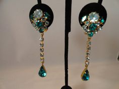 Vintage Baby Blue and Emerald Green Rhinestone by BBGIMAGINATIONS